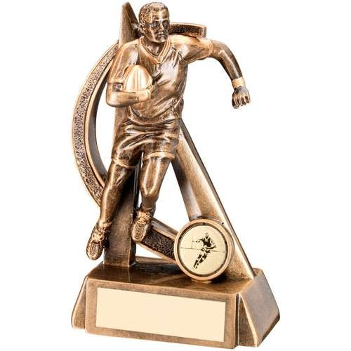 Bronze/Gold Rugby Geo Figure Trophy