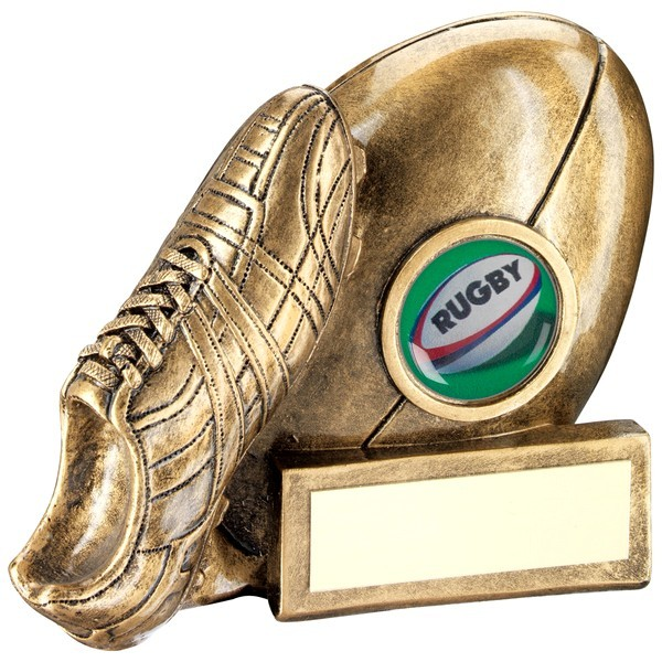 Bronze/Gold Rugby Ball And Boot Chunky Flatback Trophy