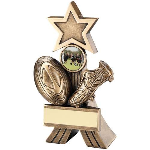 Bronze/Gold Rugby Shooting Star Trophy