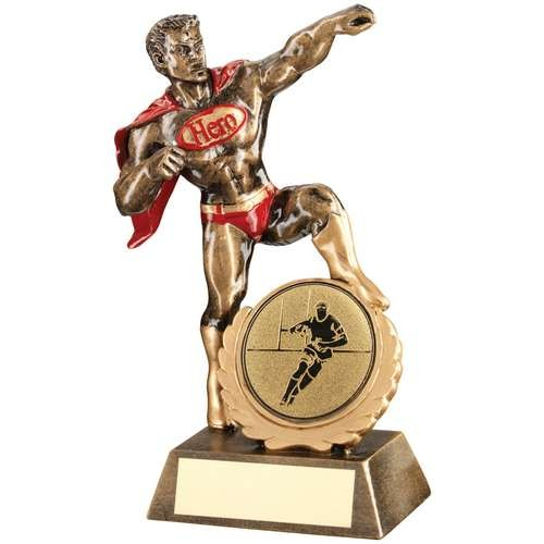 Bronze/Gold/Red Resin Generic 'Hero' Award with Rugby Insert