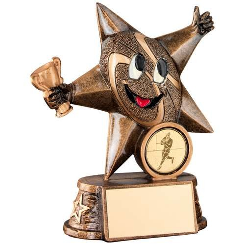 Bronze/Gold Resin Rugby 'Comic Star' Figure Trophy
