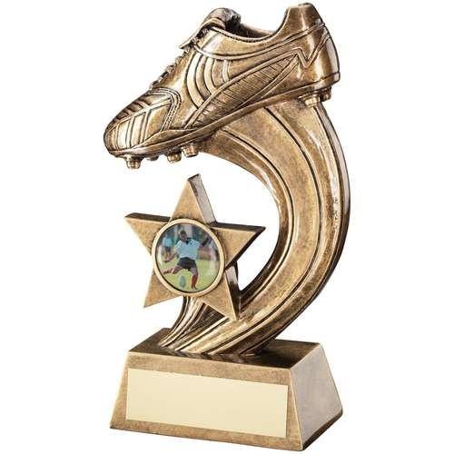 Bronze/Gold Boot on Swoosh Trophy