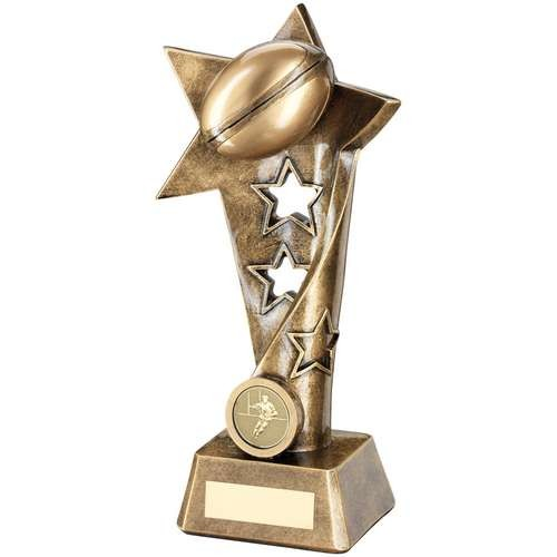 Bronze/Gold Rugby Twisted Star Column Trophy