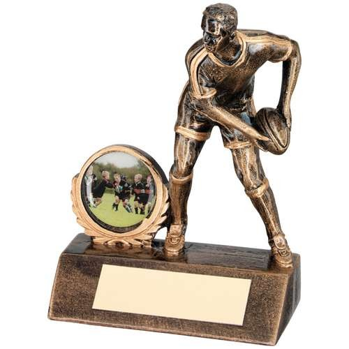 Bronze/Gold Resin Mini Male Rugby Trophy