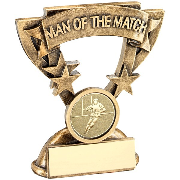 Bronze/Gold Man Of The Match Mini Cup With Rugby Insert Trophy