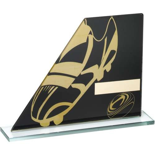 Black/Gold Printed Glass Plaque with Rugby Boot/Ball Trophy