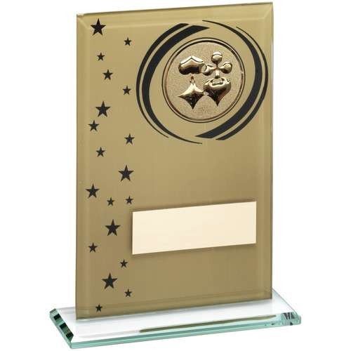 Gold/Black Printed Glass Rectangle with Cards Insert Trophy