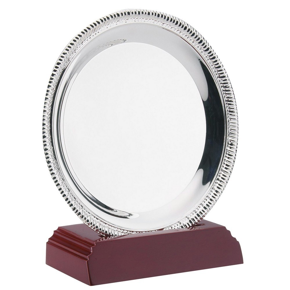 Silver Plated 'Rope' Salver on Wooden Stand