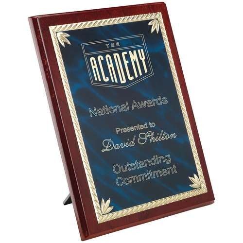 Rosewood Plaque with Blue/Gold Aluminium Front