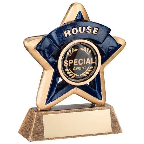 Mini Star 'House' Trophy - Bronze/Gold/Blue