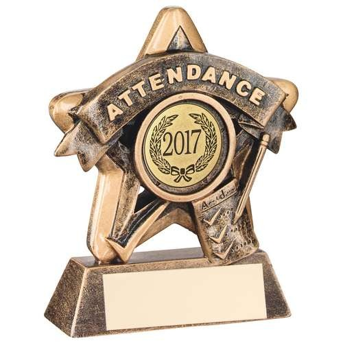 Mini Star 'Attendance' Trophy - Bronze/Gold Attendance