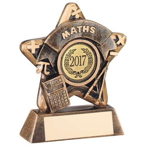 Mini Star 'Maths' Trophy - Bronze/Gold Maths