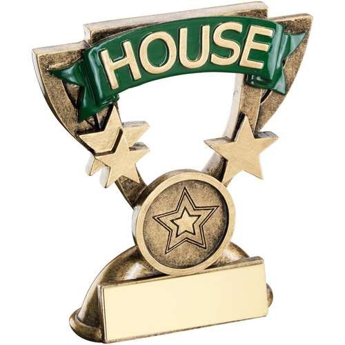 Bronze/Gold School House Mini Cup Trophy - Green