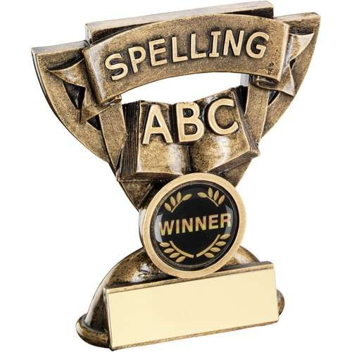 Bronze/Gold Spelling Mini Cup Trophy