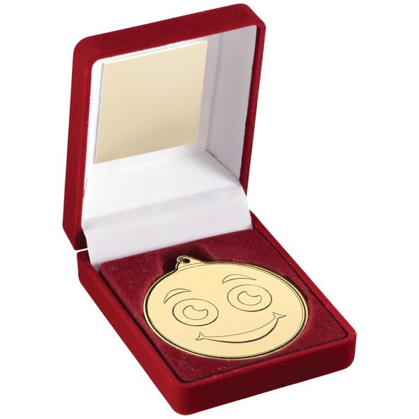 Red Velvet Box and 50mm Gold Smiley Face Medal