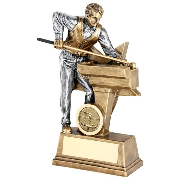 Bronze Male Pool/Snooker Figure With Star Backing Trophy