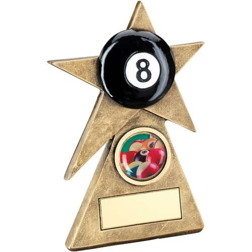 Bronze/Gold/Black Pool Star on Pyramid Base Trophy