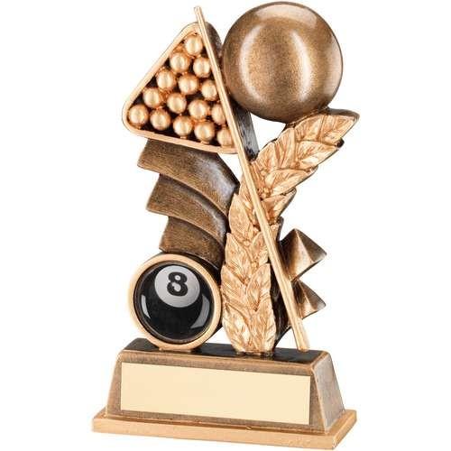 Bronze/Gold Pool/Snooker Leaf Plaque Trophy