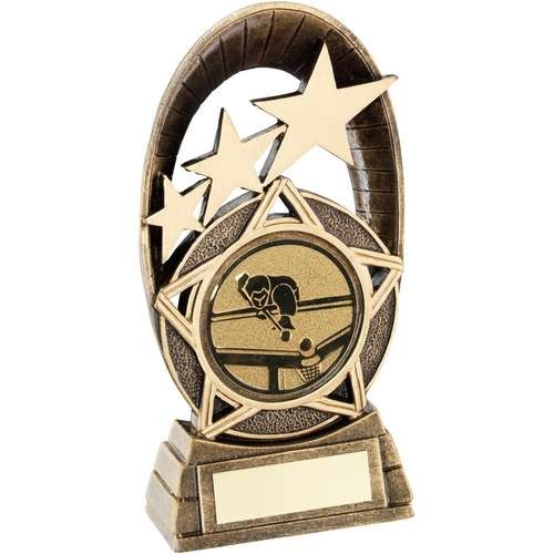 Bronze/Gold Generic Tri-Star Oval with Pool/Snooker Insert Trophy