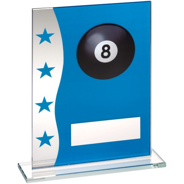 Blue/Silver Printed Glass Plaque With Pool Ball Image Trophy