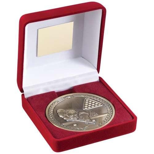 Red Velvet Box and 70mm Medallion Pool/Snooker Trophy