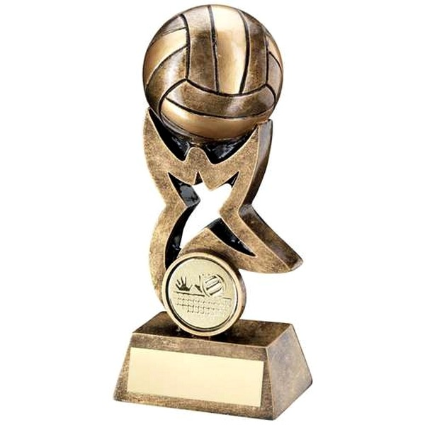 Bronze/Gold Volleyball On Star Trophy Riser Trophy