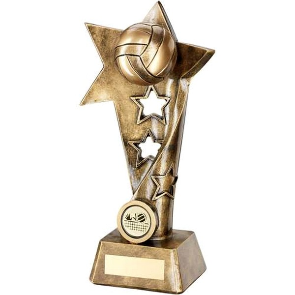 Bronze/Gold Volleyball Twisted Star Column Trophy