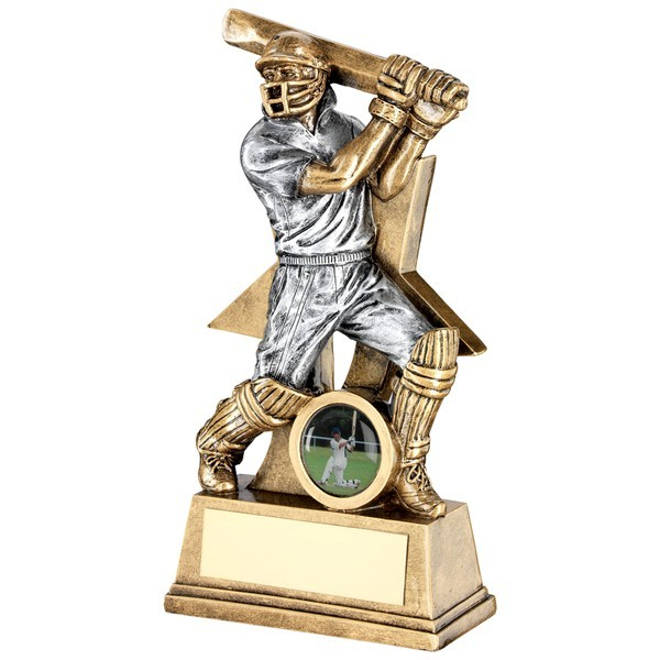 Bronze Cricket Batsman Figure With Star Backing Trophy