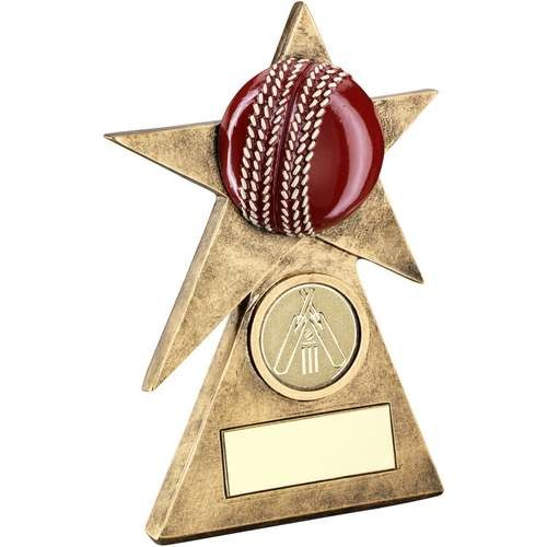 Bronze/Gold/Red Cricket Star on Pyramid Base Trophy