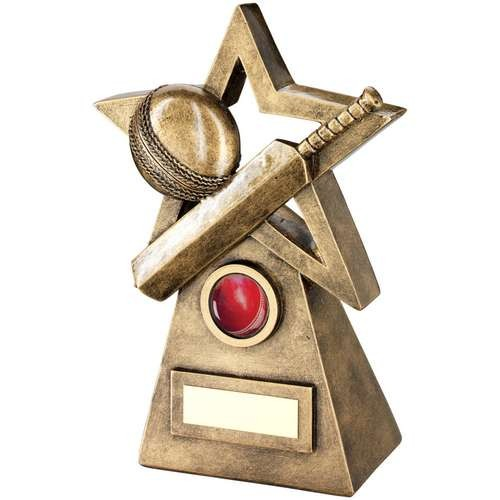 Bronze/Gold Cricket Ball/Bat on Star and Pyramid Trophy