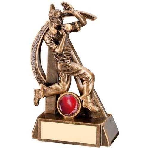 Bronze/Gold Cricket Bowler Geo Figure Trophy