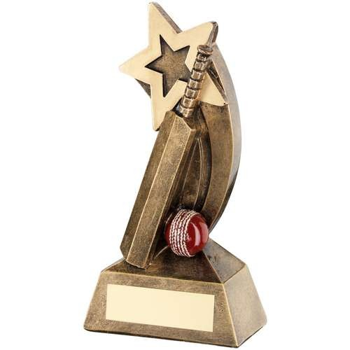 Bronze/Gold/Red Cricket Bat/Ball with Shooting Star Trophy