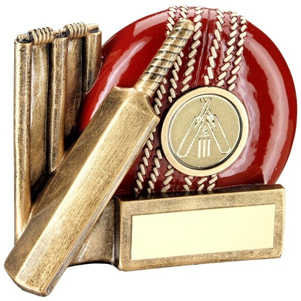 Bronze Cricket Ball, Bat And Stumps Chunky Flatback Trophy