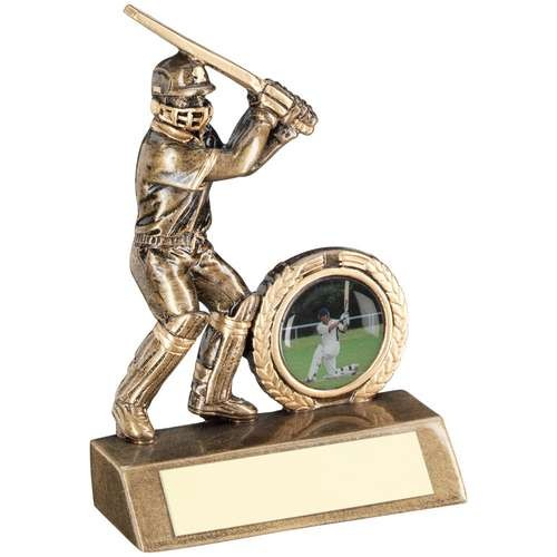 Bronze/Gold Mini Cricket Batsman Trophy