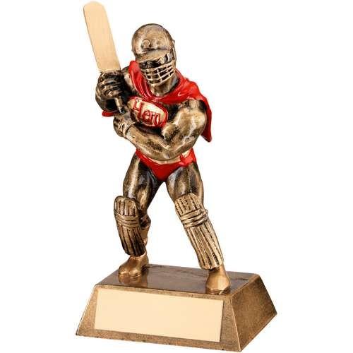 Bronze/Gold/Red Resin Cricket 'Hero' Trophy