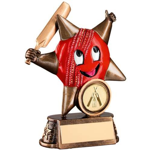 Bronze/Gold/Red Resin Cricket 'Comic Star' Figure Trophy