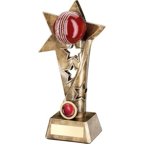 Bronze/Gold/Red Cricket Twisted Star Column Trophy