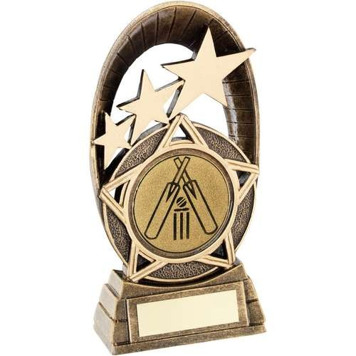 Bronze/Gold Generic Tri-Star Oval with Cricket Insert Trophy