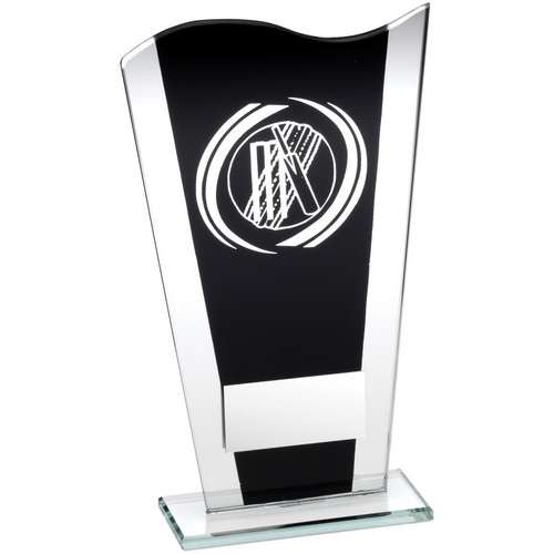 Black/Silver Printed Glass Plaque with Silver Cricket Swirl Trophy