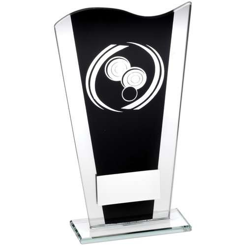 Black/Silver Printed Glass Plaque with Silver Lawn Bowls Swirl Trophy