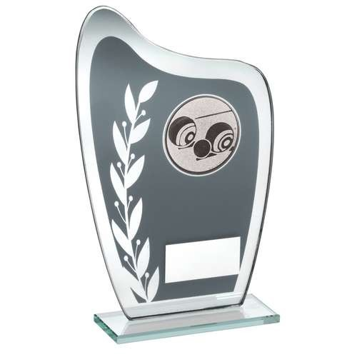 Grey/Silver Glass Plaque with Lawn Bowls Insert Trophy