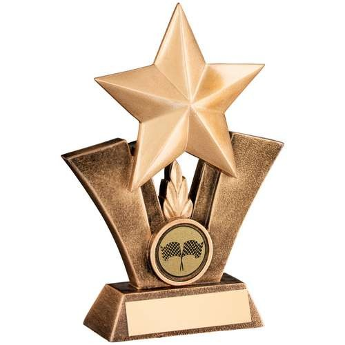 Bronze/Gold Generic Star with Motor Sport Insert Trophy
