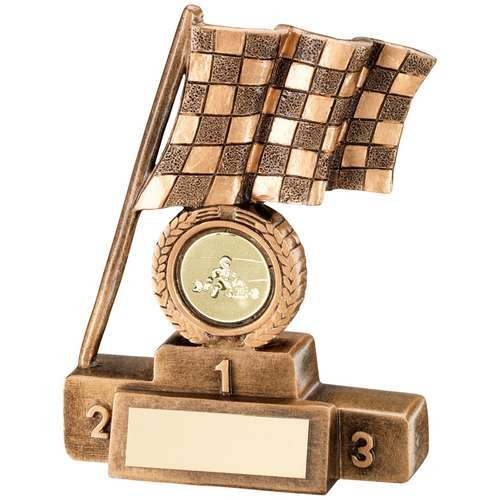 Bronze/Gold Chequered Flag and Podium Trophy
