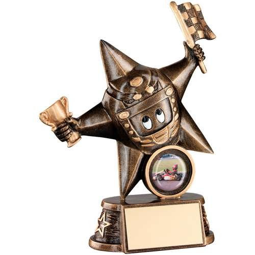 Bronze/Gold Resin Motor Sport 'Comic Star' Figure Trophy