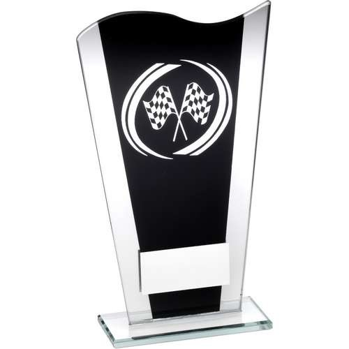 Black/Silver Printed Glass Plaque with Silver Motor Sport Swirl Trophy