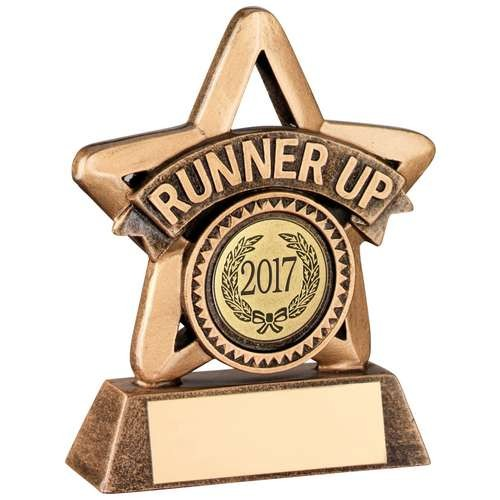 Bronze/Gold Resin 'Runner Up' Mini Star Trophy