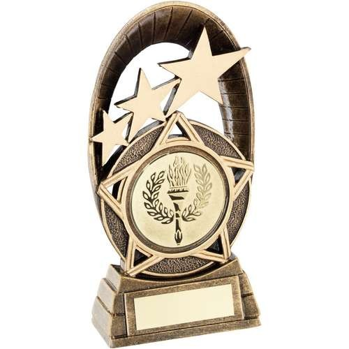 Bronze/Gold Generic Tri-Star Oval Plaque Trophy