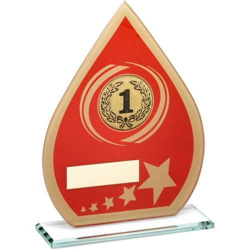 Red/Gold Printed Glass Teardrop with Wreath/Star Design Trophy