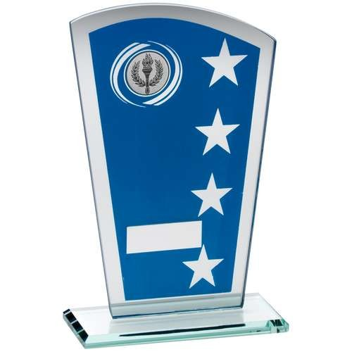 Blue/Silver Printed Glass Shield with Wreath/Star Design Trophy