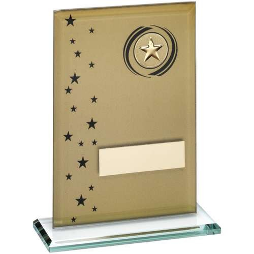 Gold/Black Printed Glass Rectangle with Wreath/Stars Trophy